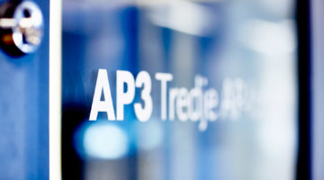 AP3 logotype on glass wall