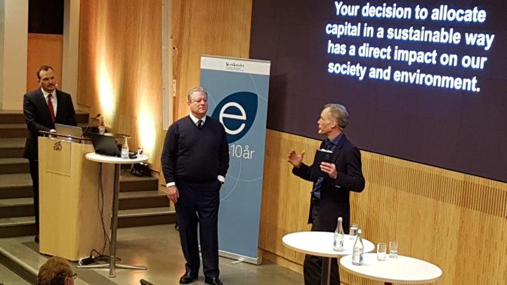 Al Gore, Johan Rockström, John Howchin on stage at the Council on Ethics jubilee seminar
