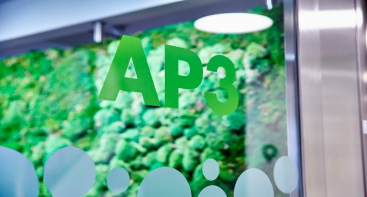 AP3 entrance glass door with AP3 logotype