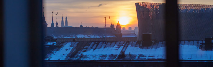 Panorama fotografi med utsikt från AP3s kontor över snötäckta hustak