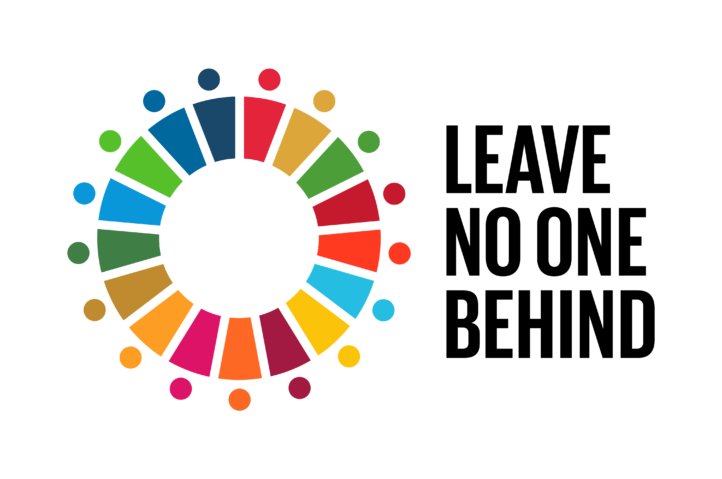 """UN SDG goals logo with text """"Leave no one behind"""""""